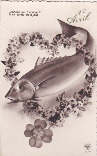 Example of an illustrated Poisson d'Avril postcard      (postmarked 1934)
