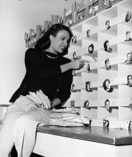 Lena Horne sorting fan mail at MGM in the 1940's
