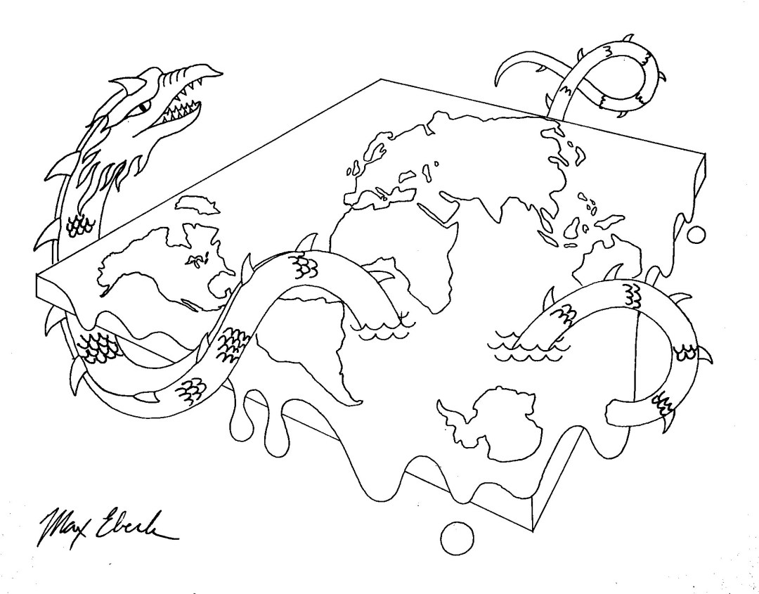 Flatworld drawing by Max Eberle. Pen and Ink