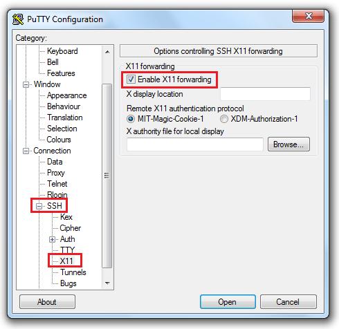 PuTTy X11 Configuration - Windows