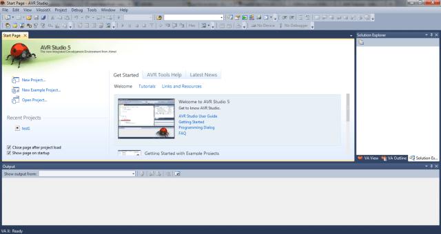 AVR Studio 5 Start Page