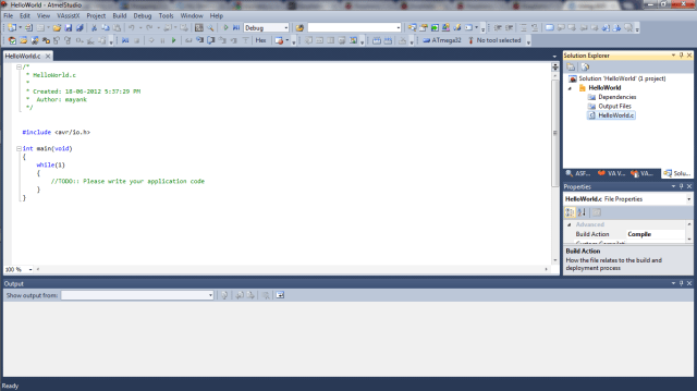 Atmel Studio New Project Start Screen