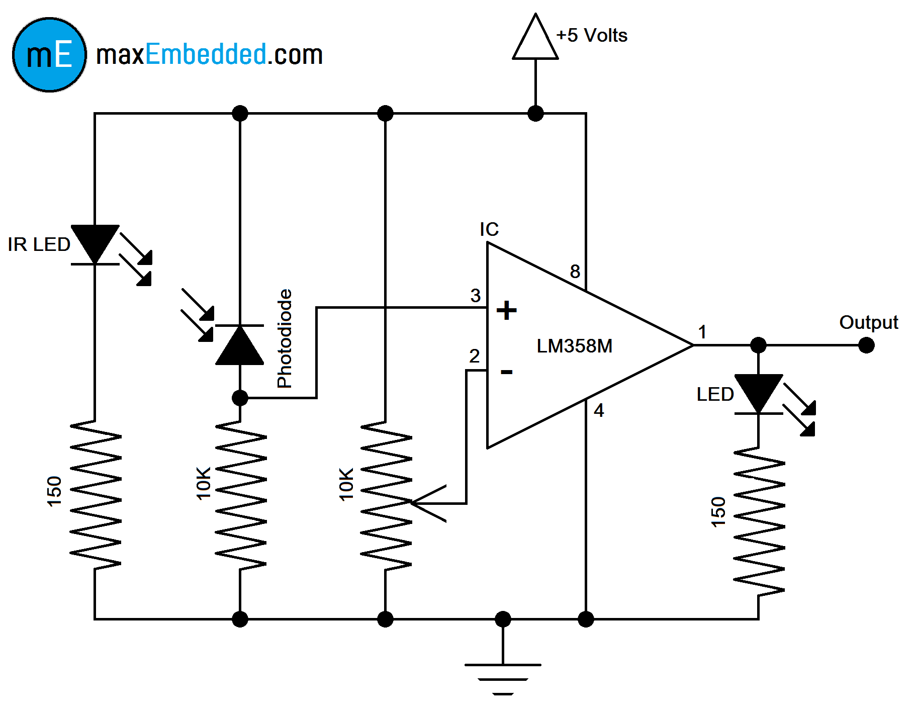 how to build an ir sensor  maxembedded circuit diagram