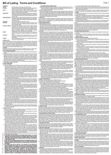 Contract of Carriage