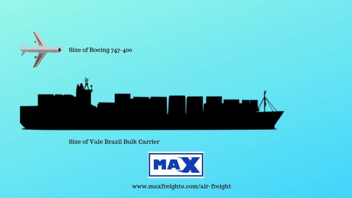 Size Comparison between an aircraft and a bulk sea transporter
