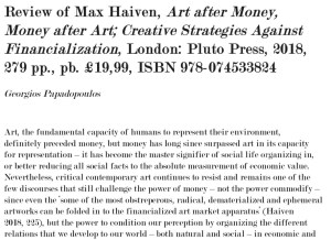 Book review: Art After Money, Money After Art (Georgios Papadopoulos)
