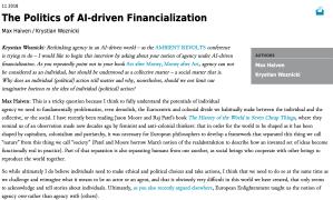 The Politics of AI-driven Financialization