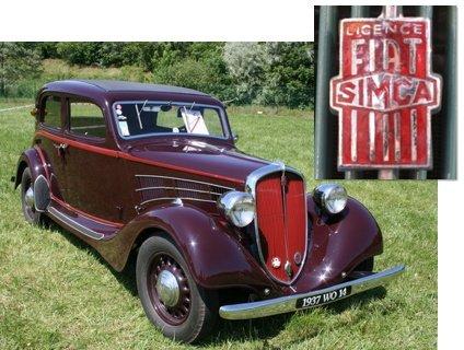 Simca-Fiat 11CV da década de 1930. No detalhe, o emblema da parceria