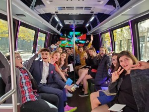 Bar Mitzvah or a Bat Mitzvah in a luxury party bus
