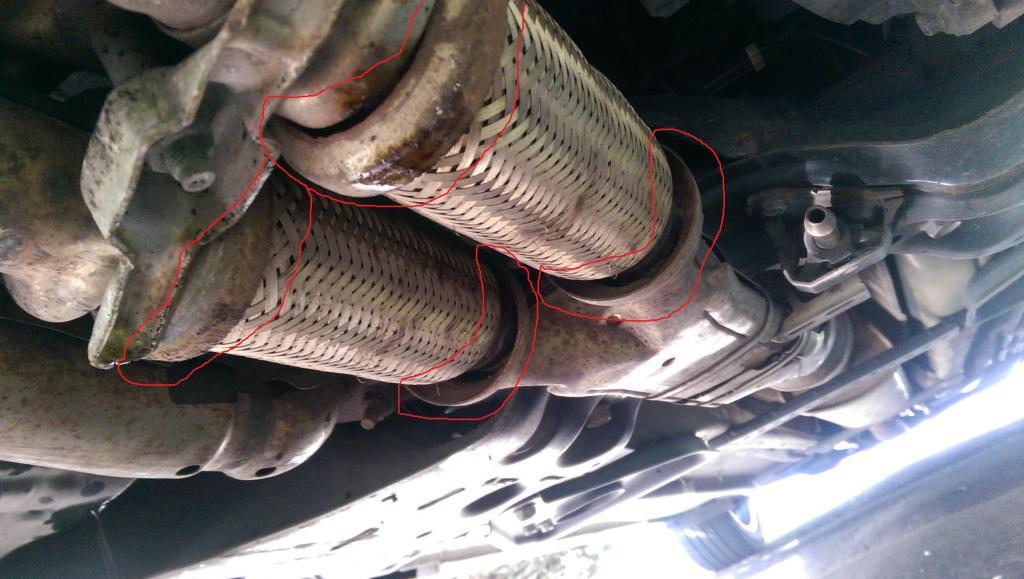 broken front exhaust heat shield flange