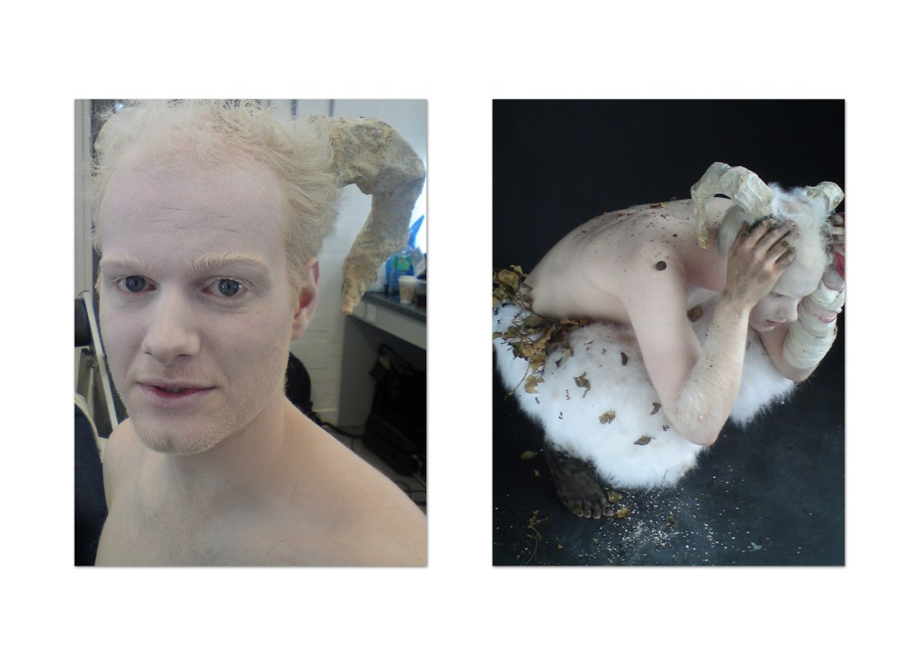 Before and After - Prosthetic Horns and Dirty Down Make Up