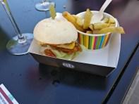 Classy burger being classy
