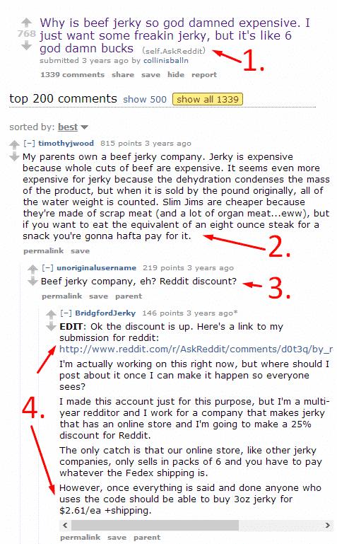 7 Examples of Successful reddit Marketing Reddit  beef-jerky-problem