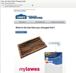 How Lowe's is Sustaining Customer Relationships SoLoMo  practical-reminder-email-300x289