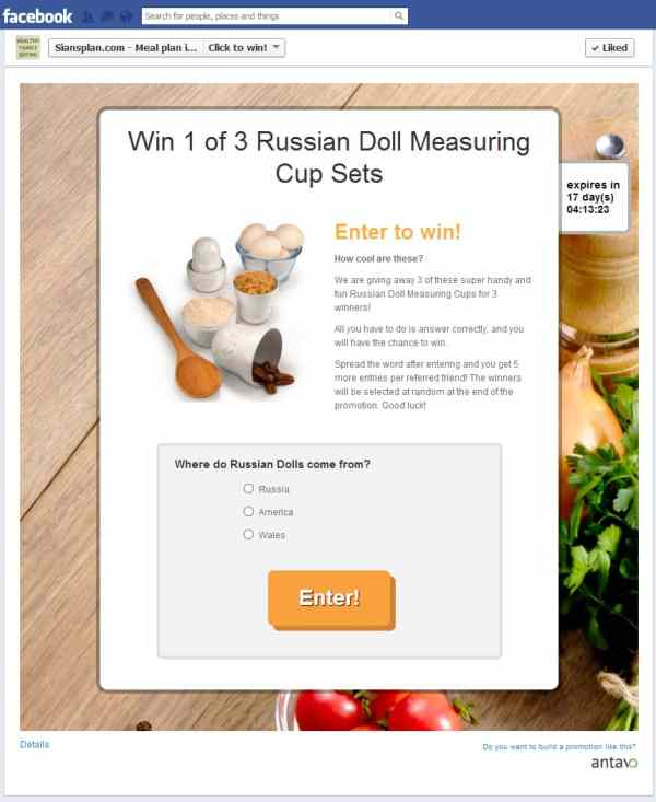 Siansplan.com decided to run a sweepstakes, where they gave away 3 measuring cups.