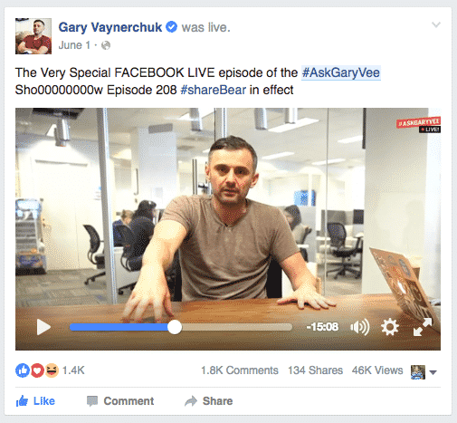 Image result for gary vaynerchuk facebook live