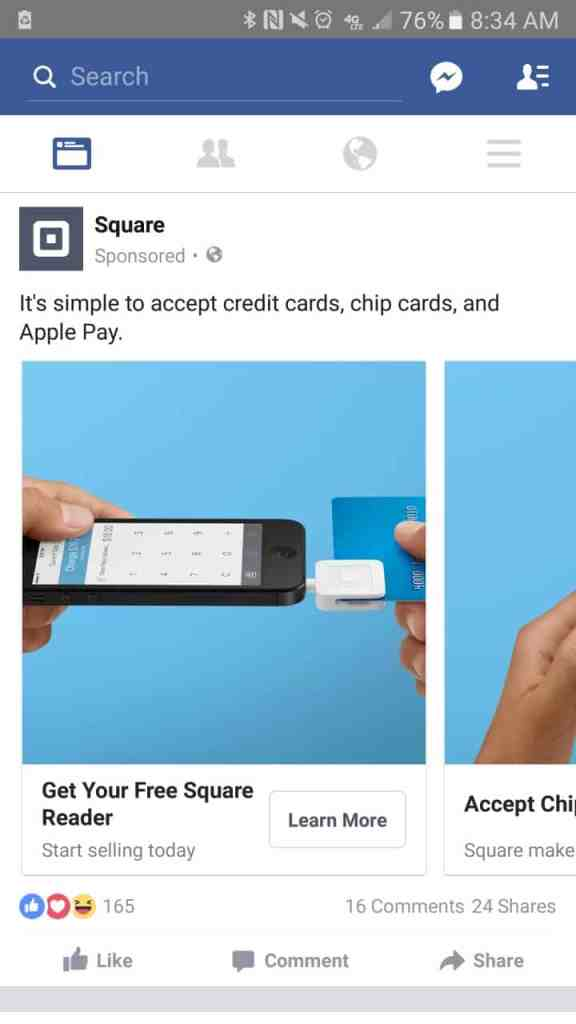 facebook ads mobile newsfeed ad example