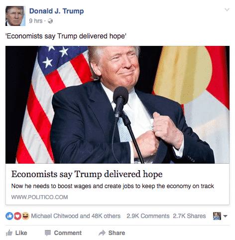 6 Amazing Facebook Pages To Get The Right Social Media Strategy Facebook  Donald-Trump-1