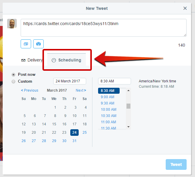 How to Send a Tweet with a Clickable Image Twitter  scheduling-twitter-website-card-tweet