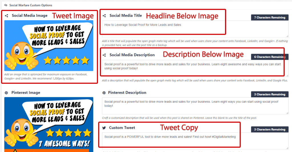 How to Send a Tweet with a Clickable Image Twitter  social-warfare-fields-filled-in-1024x533