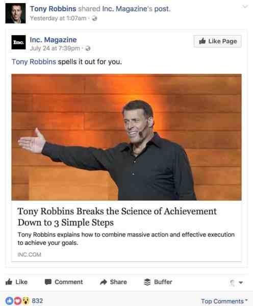 Tony Robbins post