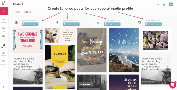 create tailored posts for each social media profile viraltag social media dashboard