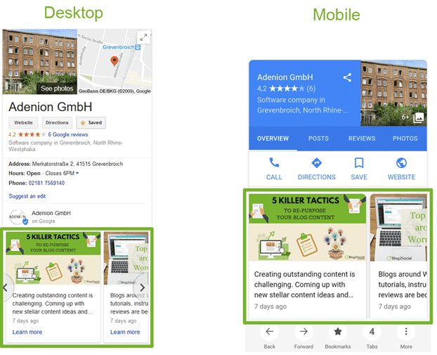 google post on desktop and mobile search