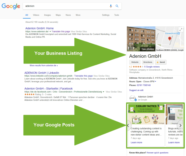 Google My Business listing in Google Search