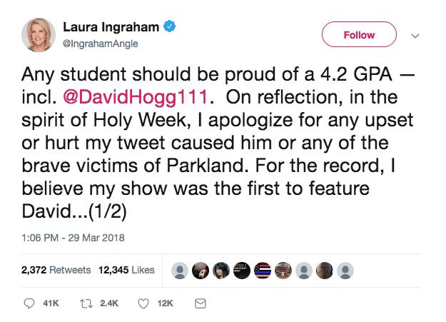 Ingraham apology tweet