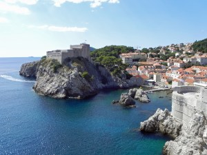 View of Lovrijenac Fortress from the top of the walled city of Dubrovnik.