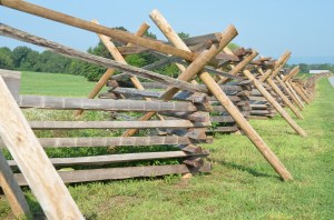 Fences bordering the Gettysburg Battlefield.