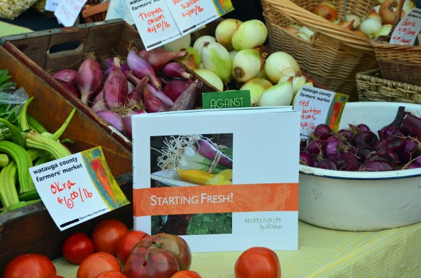Cookbook author Jill Dahan's new book on display at the Watauga County Farmer's market.
