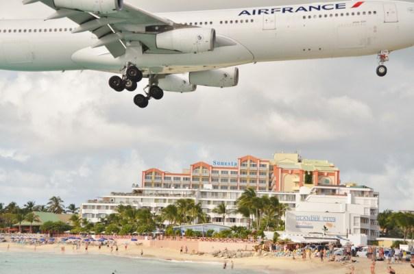 Air France jumbo jet coming in at Princess Juliana International Airport.