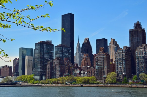 Beautiful views of the NYC skyline can be seen from the tree-lined riverside walk on Roosevelt Island. Take a picnic and enjoy the view. On the island old buildings are coming down to make way for phase one of the new Cornell Tech campus.