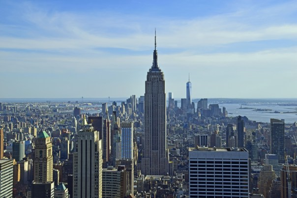 Majestic view of the Empire State Building from the Top of the Rock.  Tickets $29, seniors $27, for a ride up to three levels of 360 degrees of fabulous views.
