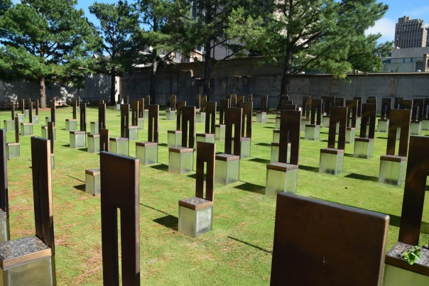 """Chairs"" represent the 168 lives lost.  Their placement on the site of the Federal Building, represents its nine floors  and where each victim was located."