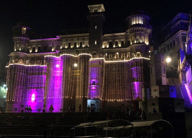 Brijrama Palace in Varanasi India all lit up for Diwali.