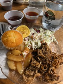 Tasty BBQ lunch on the Moonshine Express with the Great Smoky Mountain Railroad..