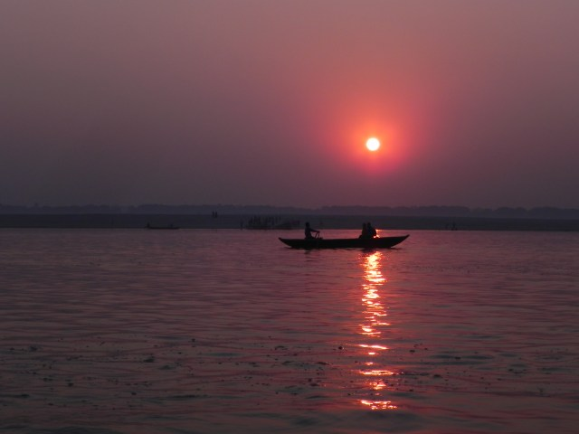 Sunset on the Ganges in Varanasi, India