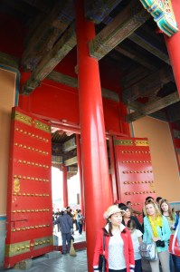 Doorway in the Forbidden City, Beijing, China.