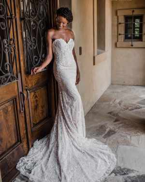 Lace, Tulle, Mermaid, Plus size, Wedding, gown, Dress, Maxims Wedding, Strapless