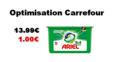 Carrefour : Lessive Ariel Pods 3en1 à 1€ au lieu de 13.99€ (Optimisation)