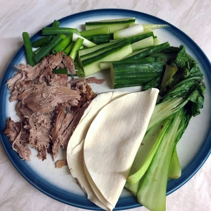 Duck with pancakes & stir-fried pak choi