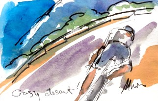 Cycling art, Tour de France, Watercolour painting Crazy descent! Stage 14 by Maxine Dodd