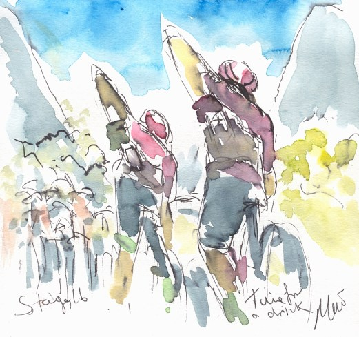 Cycling art, Tour de France, Watercolour painting Time for a drink, Stage 16, by Maxine Dodd