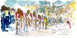 Cycling art, Tour de France, Watercolour painting Heading for the finish, Le Havre, by Maxine Dodd