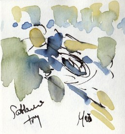 Rugby art, Six Nations: Scotland try by Maxiine Dodd, watercolour, pen and ink