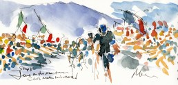 Tour de France, cycling, art,Fans on the mountain, Chris makes his move! by Maxine Dodd