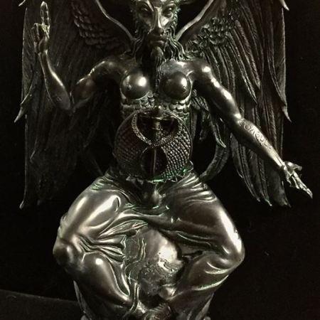 Baphomet Statue Black and Antiqued Green Resin by Maxine Miller ©celticjackalope.com