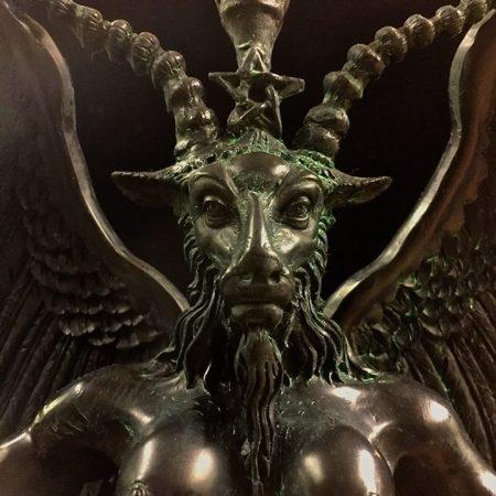 Baphomet Statue Black and Antiqued Green Resin by Maxine Miller ©celticjackalope.com 2
